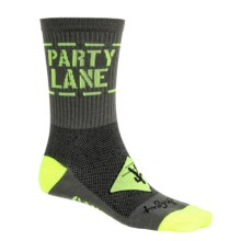 SockGuy Party Lane Socks - Crew (For Men and Women) in Brown/Lime - Closeouts