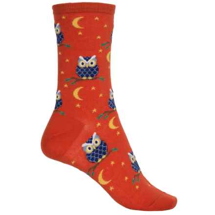 Socksmith Novelty Graphic Socks - Crew (For Women) in Night Owl/Paprika - Closeouts