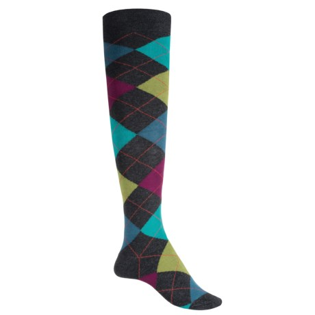 Socksmith Novelty Tall Socks - Over the Knee (For Women) in Argyle Charcoal Heather