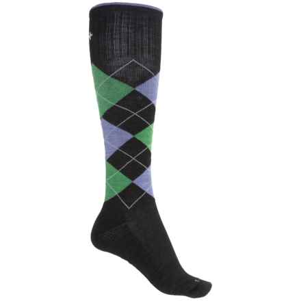 Sockwell Argyle Socks - Merino Wool, Over the Calf (For Women) in Black - Closeouts