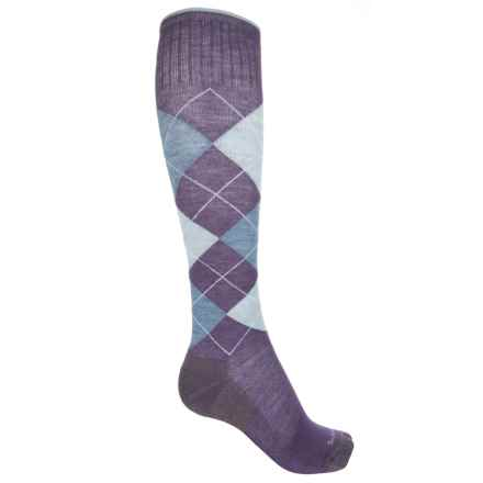 Sockwell Argyle Socks - Merino Wool, Over the Calf (For Women) in Plum - Closeouts