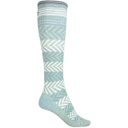 Sockwell Chevron Compression Socks - Merino Wool Blend, Over the Calf (For Women) in Celadon - Closeouts