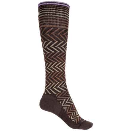 Sockwell Chevron Compression Socks - Merino Wool Blend, Over the Calf (For Women) in Expresso - Closeouts