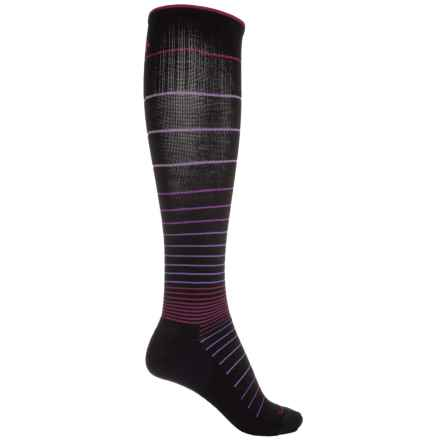 Sockwell Circulator Graduated Compression Socks - Merino Wool Blend, Over the Calf (For Women) in Black Stripe/Magenta/Purple - Closeouts