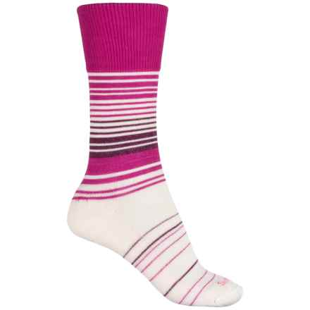 Sockwell Easy Does It Relaxed Fit Diabetic Socks - Merino Wool Blend, Crew (For Women) in Azalea - Closeouts