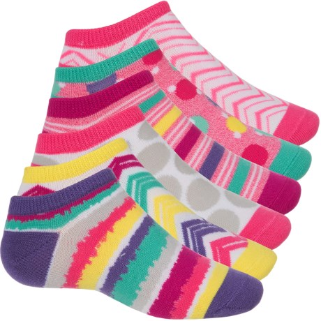 Sof Sole All Sport Lite No-Show Printed Sock - 6-Pack, Below the Ankle (For Little and Big Kids) in Stripe/Dot