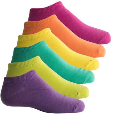 Sof Sole All-Sport Lite No-Show Socks - 6-Pack, Below the Ankle (For Women) in Pink/Yellow/Purple - Closeouts