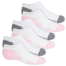 Sof Sole All Sport No-Show Banded Socks - 6-Pack, Below the Ankle (For Little and Big Girls) in Pink/Grey - Closeouts