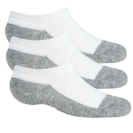 Sof Sole All Sport No-Show Socks - 3-Pack, Below the Ankle (For Little and Big Kids) in White/Grey - Closeouts