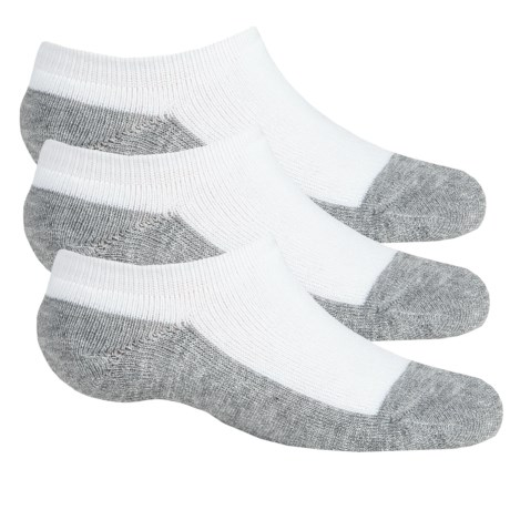 Sof Sole All Sport No-Show Socks - 3-Pack, Below the Ankle (For Little and Big Kids) in White/Grey