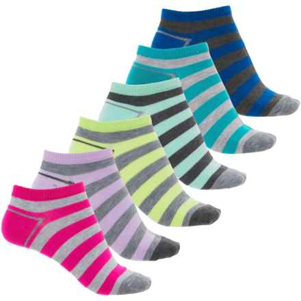 Sof Sole All-Sport No-Show Socks - 6-Pack, Below the Ankle (For Women) in Stripes - Closeouts