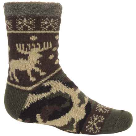 Sof Sole Fireside Socks - Crew (For Little and Big Kids) in Camo Brown - Closeouts