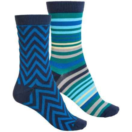 Sof Sole Outdoor Year-Round Crew Socks - 2-Pack, Crew (For Women) in Blue Stripe - Closeouts