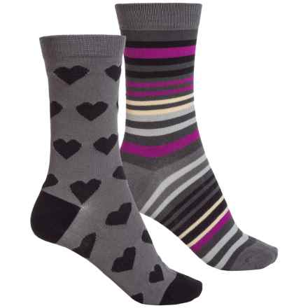 Sof Sole Outdoor Year-Round Crew Socks - 2-Pack, Crew (For Women) in Grey Stripe - Closeouts