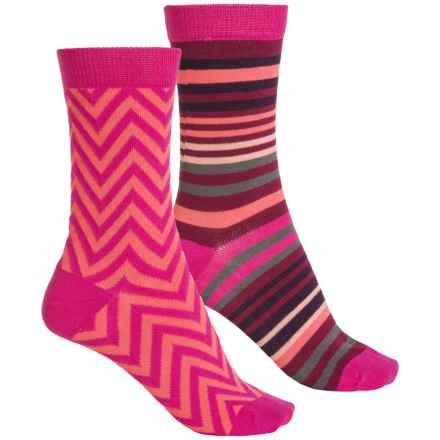 Sof Sole Outdoor Year-Round Crew Socks - 2-Pack, Crew (For Women) in Raspberry Stripe - Closeouts