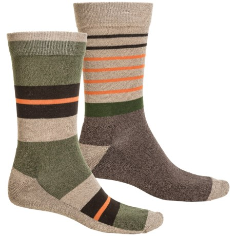 Sof Sole Outdoor Year-Round Socks - 2-Pack, Crew (For Men) in Green Stripe