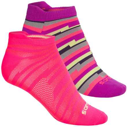 Sof Sole Running Select Tab Socks - 2-Pack, Below the Ankle (For Women) in Pink/Purple/Stripes - Closeouts