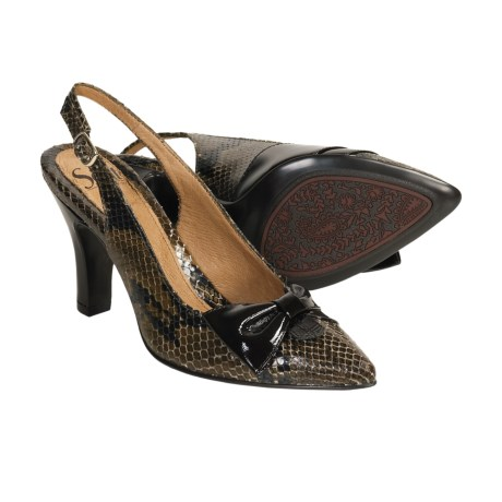 Sofft Alana Shoes - Pointed Toe, Sling-Backs (For Women) in Mocha Python Print Leather