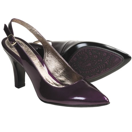 Sofft Astoria Leather Pumps - Sling-Backs (For Women) in Violet Patent