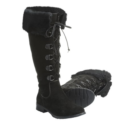 Sofft Barbourne Suede Cuff Boots with Shearling (For Women) in Black
