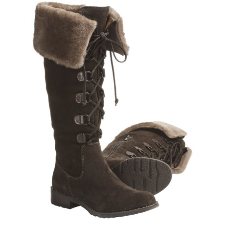 Sofft Barbourne Suede Cuff Boots with Shearling (For Women) in Mogano