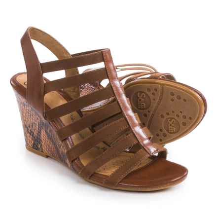Sofft Barstow Wedge Sandals - Leather (For Women) in Cognac - Closeouts