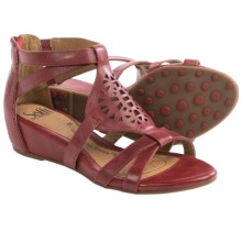 Sofft Breeze Gladiator Sandals - Leather, Wedge Heel (For Women) in Cherry Red - Closeouts