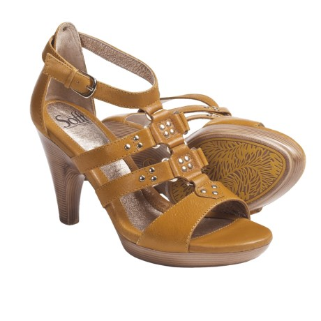 Sofft Castello Gladiator Style Platform Sandals - Leather (For Women) in Ochre Yellow