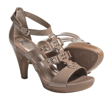 Sofft Castello Gladiator Style Platform Sandals - Leather (For Women) in Sand Patent