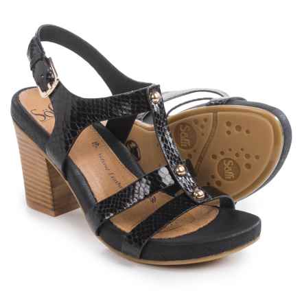 Sofft Deidra Sandals - Leather (For Women) in Black Snake Print - Closeouts