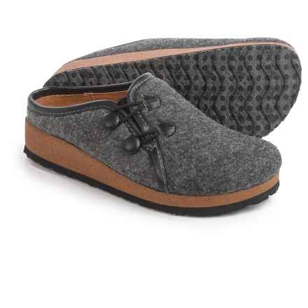 Sofft Farren Open-Back Clogs - Wool, Slip-Ons (For Women) in Charcoal/Black - Closeouts