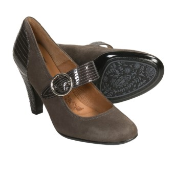 Sofft Florence Mary Jane Shoes - Stitched Heel (For Women) in Nimbus Grey Suede