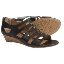 Sofft Ilana Leather Sandals - Wedge Heel (For Women) in Black - Closeouts