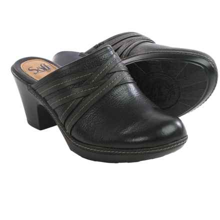 Sofft Leigh Leather Clogs (For Women) in Black - Closeouts