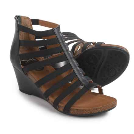 Sofft Mati Wedge Sandals - Leather (For Women) in Black - Closeouts