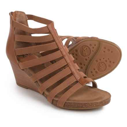Sofft Mati Wedge Sandals - Leather (For Women) in Luggage - Closeouts