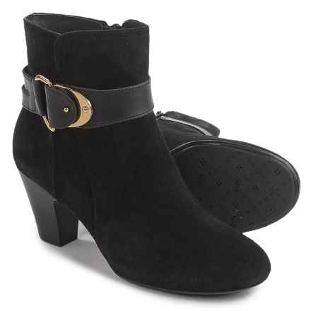 Sofft Nadra Ankle Boots - Leather (For Women) in Black Suede - Closeouts