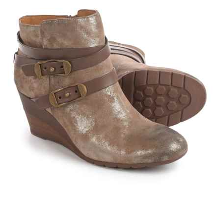 Sofft Oakes Wrapped Strap Wedge Ankle Boots - Suede (For Women) in Anthracite Suede - Closeouts