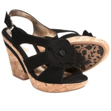 Sofft Odelle Wedge Sandals (For Women) in Black Suede - Closeouts