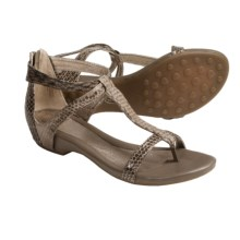 Sofft Ravia Gladiator Metallic Thong Sandals - Leather (For Women) in Sand Snake - Closeouts
