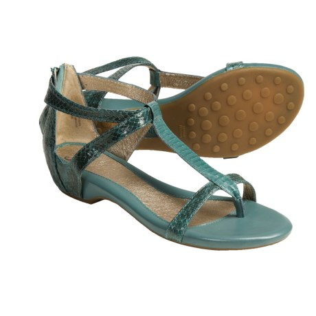 Sofft Ravia Gladiator Metallic Thong Sandals - Leather (For Women) in Teal Snake