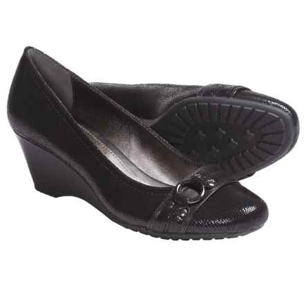 Sofft Torino Shoes - Leather, Wedge (For Women) in Black Suede - Closeouts