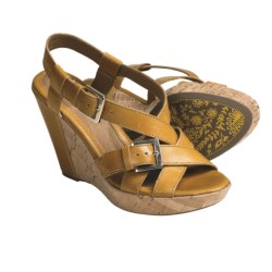 Sofft Tremblay Wedge Sandals - Leather (For Women) in Ochre Yellow
