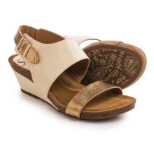 Sofft Vanita Wedge Sandals - Leather (For Women) in Beige/Gold Rush - Closeouts
