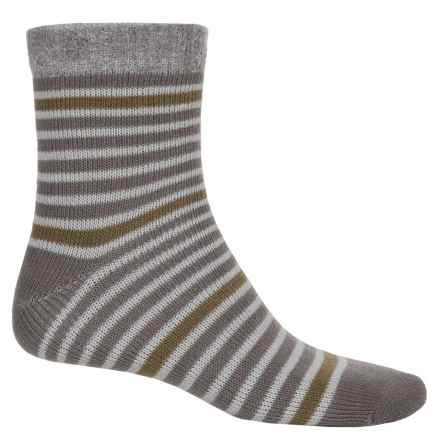 Sofsole Fireside Socks - Crew (For Men) in Stripe Grey/Gold - Closeouts