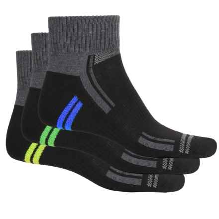 Sofsole Multi-Sport Cushion Socks - 3-Pack, Quarter Crew (For Men) in Black/Lime Green - Closeouts