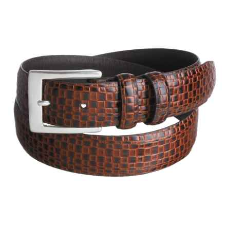 Soft Collection by Bill Lavin Calfskin Belt - Basket Weave Print (For Men) in Cognac - Closeouts