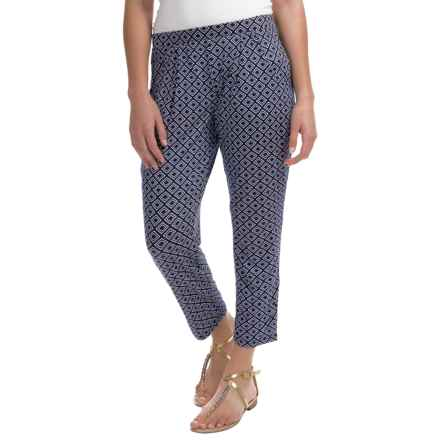 Soft Stretch Pants - Viscose Blend (For Women) in Navy Print - 2nds