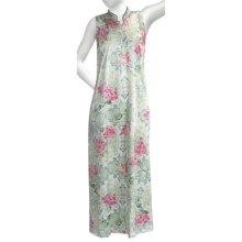 Soft Surrounding Geisha Nightgown - Mandarin Collar, Sleeveless (For Women) in Ivory/Teal - Closeouts