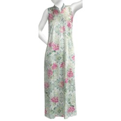 Soft Surrounding Geisha Nightgown - Mandarin Collar, Sleeveless (For Women) in Ivory/Teal